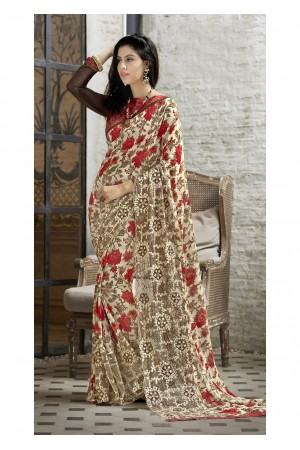 Multi Colored Printed Faux Georgette Saree 31120