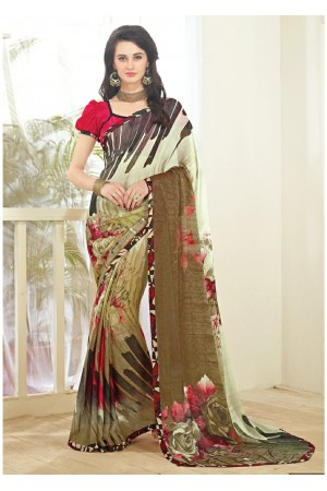 Multi Colored Printed Faux Georgette Saree 61004