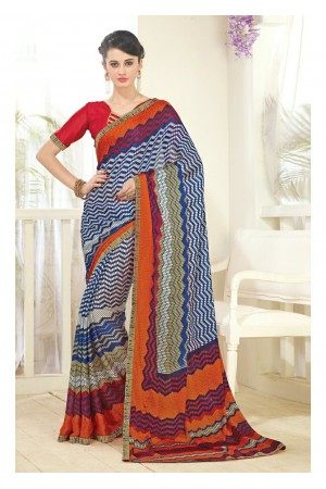 Multi Colored Printed Faux Georgette Saree 61006