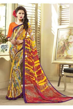 Multi Colored Printed Faux Georgette Saree 75048