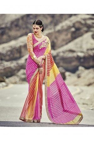 Multi Colored Printed Georgette Chiffon Saree 2011