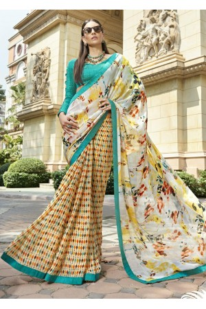 Multi Colored Printed Saree 1702