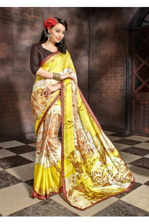 Multi Colored Printed Satin Chiffon Saree 1110