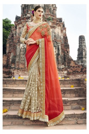 Off White Colored Embroidered Crape Net Chiffon Wedding Saree 1040