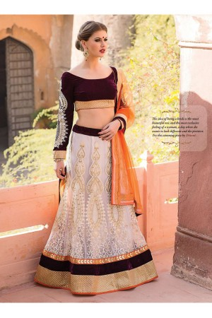 Off White Colored Embroidered Net Lehenga Choli 67003