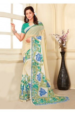 Off White Colored Printed Faux Georgette Saree 89009