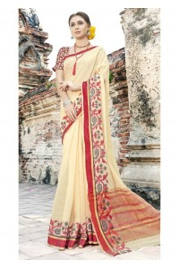 Off White Colored Woven Art Silk Officewear Saree 5207