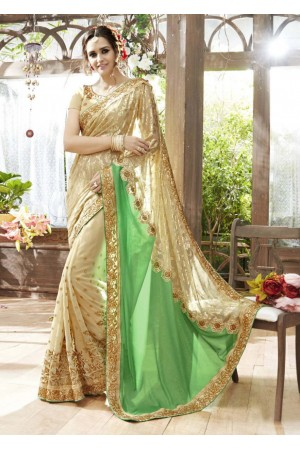 Off White Faux Georgette Traditional Embroidered Saree 87063