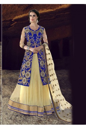 Off White Net Embroidered Circular Lehenga Choli 88008