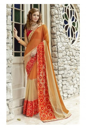 Orange Colored Border Worked Faux Georgette Festive Saree 96075