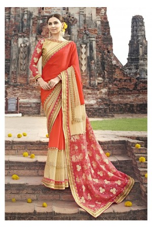 Orange Colored Border Worked Faux Georgette Partywear Saree 87079