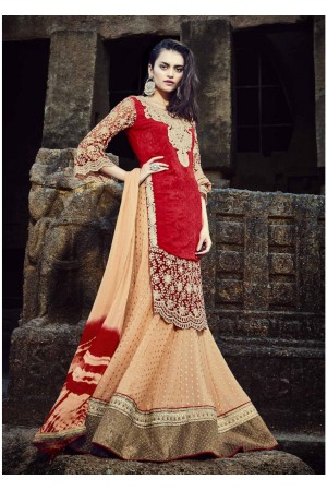 Orange Colored Embroidered Faux Georgette Lehenga Choli 88007