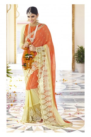 Orange Colored Embroidered Faux Georgette Net Festive Saree 96057
