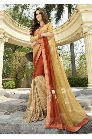 Orange Colored Embroidered Georgette Brasso Festive Saree 97063