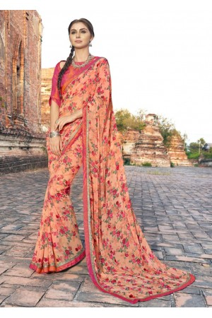 Orange Colored Printed Faux Georgette Saree 2009