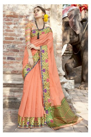Orange Colored Woven Art Silk Festive Saree 5208