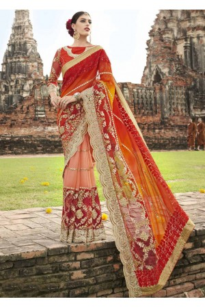 Peach Chiffon Half n Half Embroidered Saree 1038