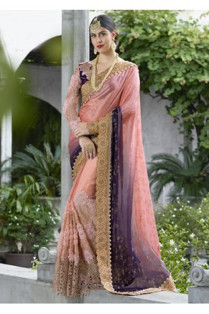 Peach Colored Border Worked Satin Chiffon Wedding Saree 1043