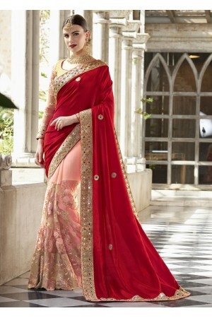 Peach Colored Embroidered Net Chiffon Art Silk Wedding Saree 1041