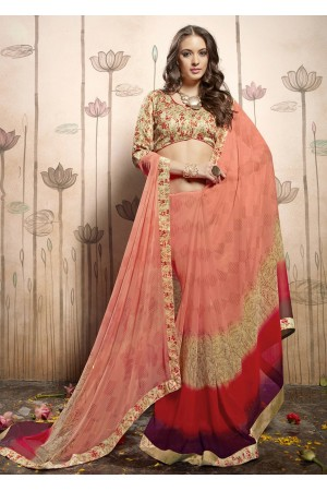 Peach Colored Printed Faux Georgette Saree 31027