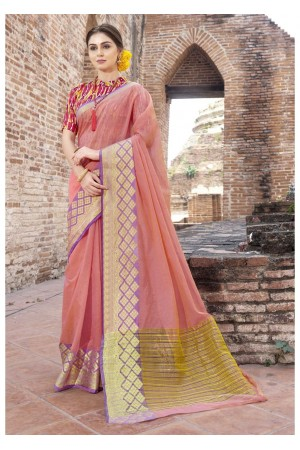 Peach Colored Woven Art Silk Festive Saree 5201