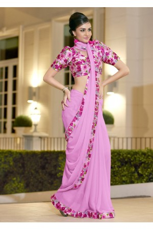 Pink Chiffon Border Worked Saree 1013