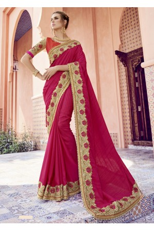 Pink Colored Border Worked Banarasi Silk Festive Saree 1806