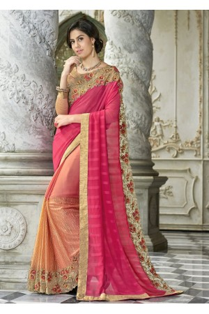 Pink Colored Border Worked Faux Georgette Festive Saree 97050