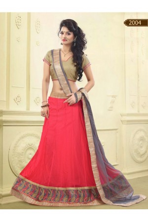 Pink Colored Border Worked Net Satin Lehenga Choli 2004