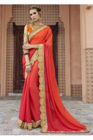 Pink Colored Border Worked Satin Partywear Saree 1804