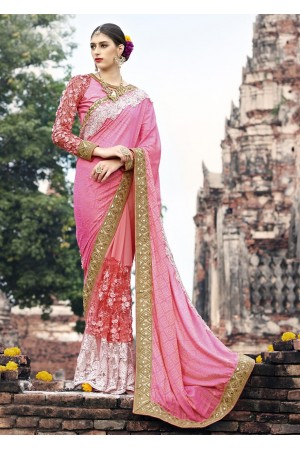 Pink Colored Embroidered Art Silk Net Georgette Wedding Saree 1035