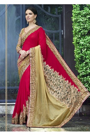 Pink Colored Embroidered Chiffon Net Partywear Saree 1032