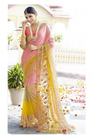 Pink Colored Embroidered Faux Georgette Net Partywear Saree 96053