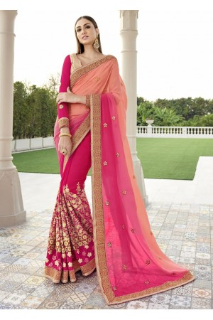 Pink Colored Embroidered Georgette Net Festive Saree 1401