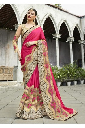 Pink Colored Embroidered Satin Net Wedding Saree 1047