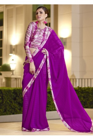 Purple Chiffon Border Worked Saree 1017
