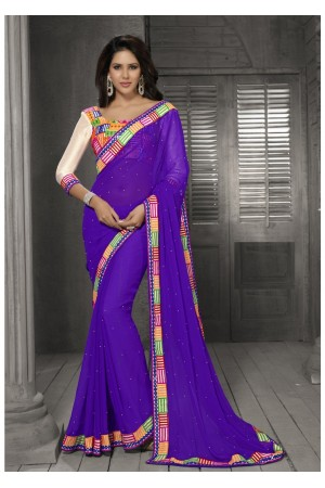 Purple Color Border Worked Chiffon Saree 40012
