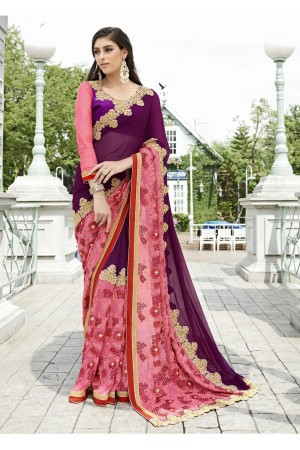 Purple Colored Embroidered Faux Georgette Festive Saree 87084