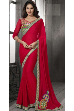 Red Color Border Worked Chiffon Saree 40007