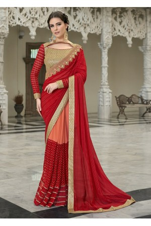 Red Colored Border Worked Faux Georgette Festive Saree 97048