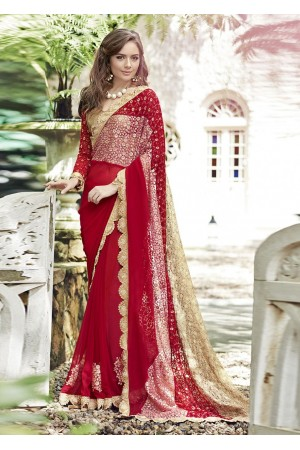 Red Colored Embroidered Chiffon Festive Saree 96066