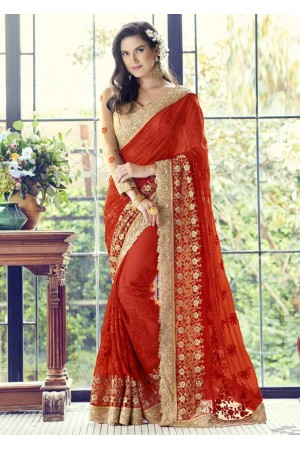 Red Colored Embroidered Faux Georgette Partywear Saree 1505