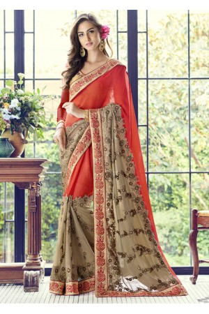 Red Colored Embroidered Faux Georgette Partywear Saree 1508
