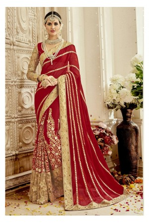 Red Colored Embroidered Faux Georgette Wedding Saree 1104