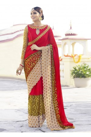 Red Colored Embroidered Net Georgette Festive Saree 96055