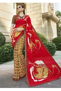 Red Colored Printed Saree 1701