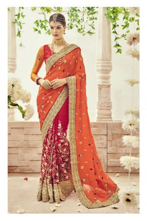 Red Faux Georgette Embroidered Bridal Saree 1101