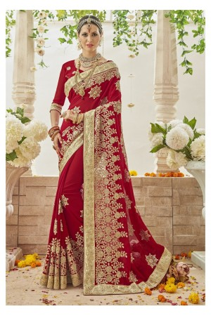 Red Faux Georgette Embroidered Bridal Saree 1208