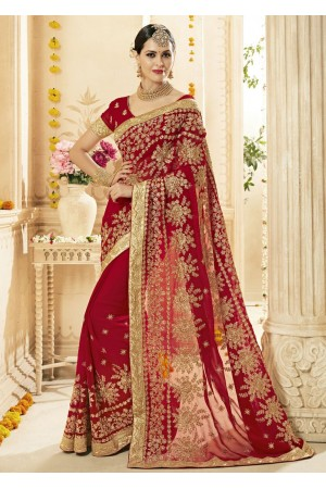 Red Faux Georgette Embroidered Bridal Saree 1216