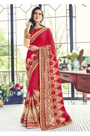 Red Faux Georgette Traditional Embroidered Saree 1501